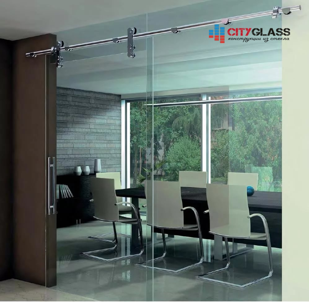 Галерея стеклянные двери на заказ - d30