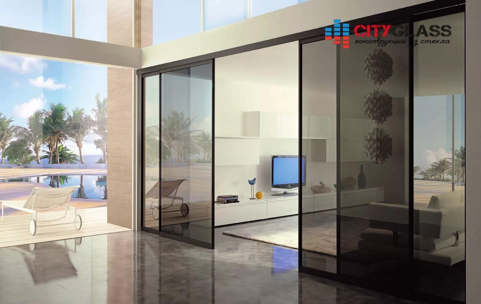 Галерея стеклянные двери на заказ - d32