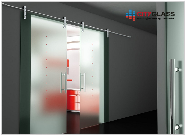 Галерея стеклянные двери на заказ - d42