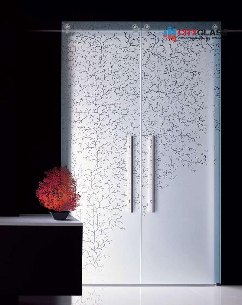 Галерея стеклянные двери на заказ - d48