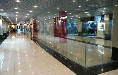 Стеклянные перегородки для торговых комплексов